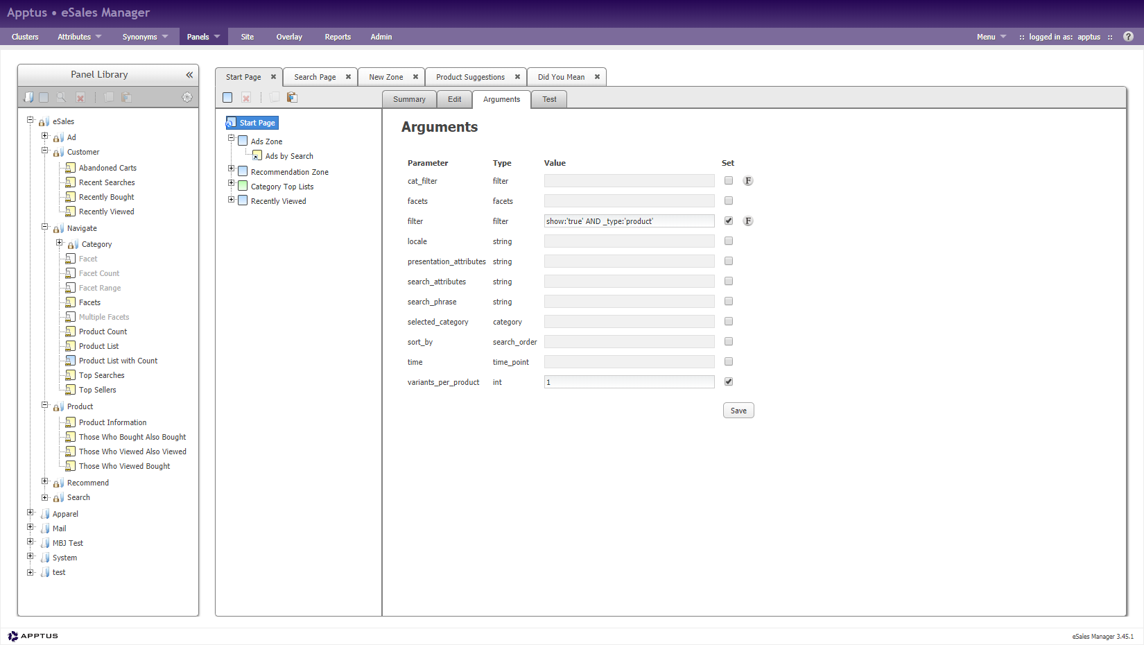 Graphic showing panel configuration in Apptus eSales Manager