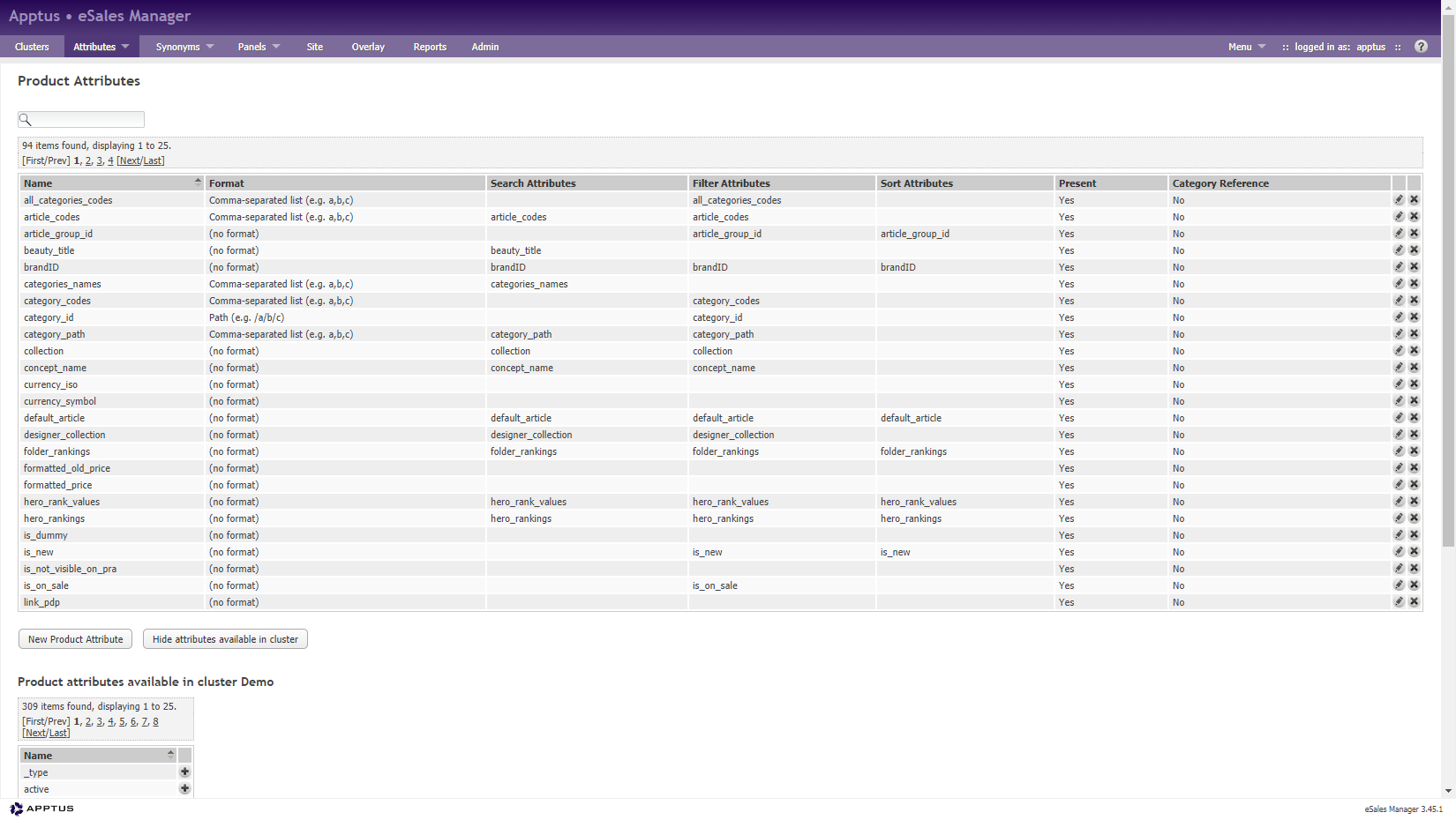 Graphic showing product attributes in Apptus eSales Manager