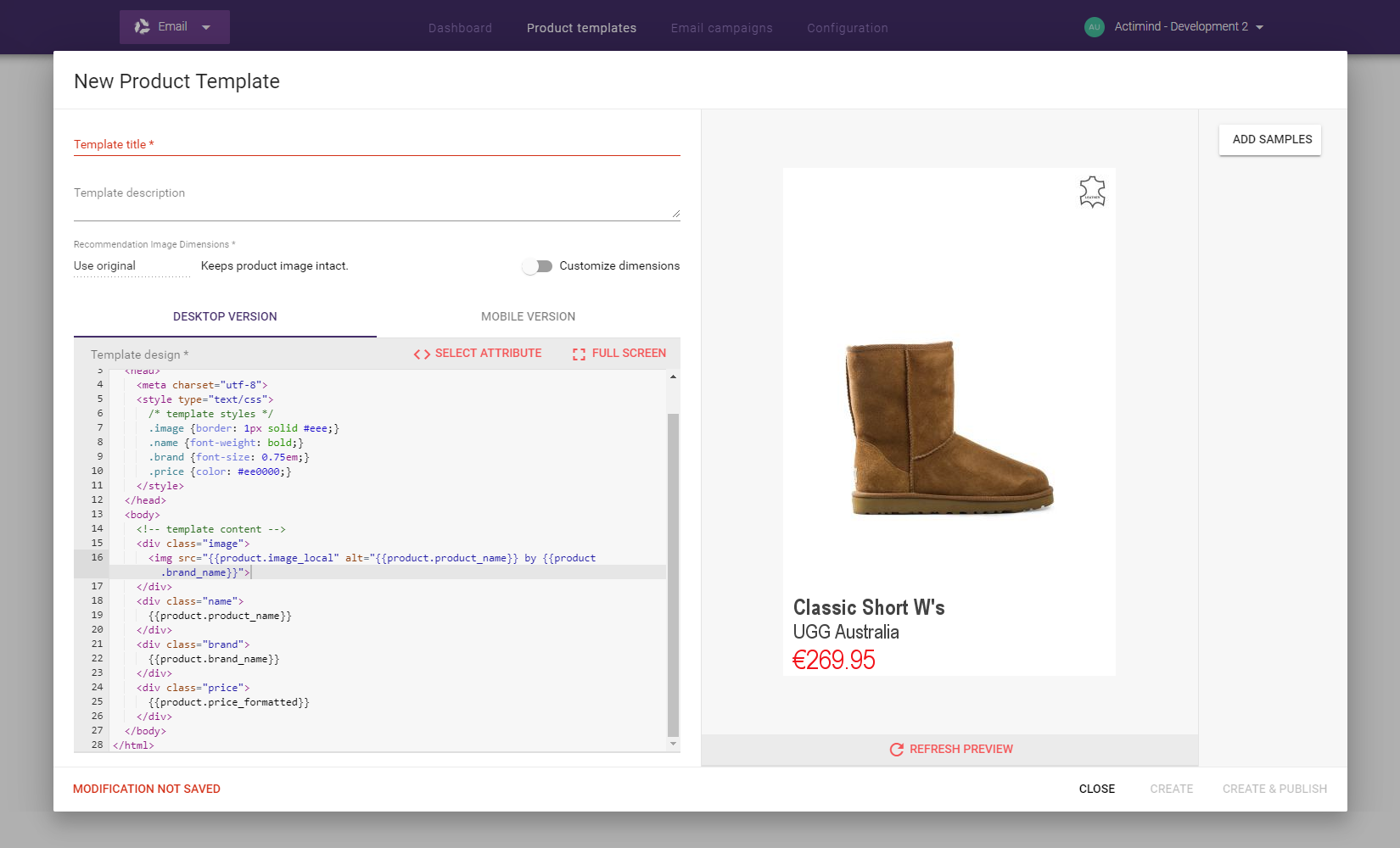 Email Recommendations - Product Templates - Preview template