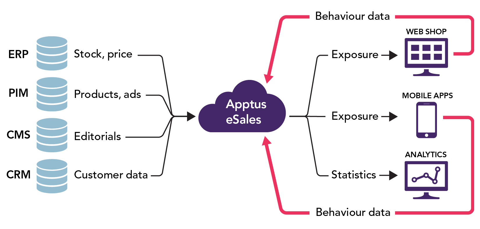 Graphic showing the data paths and components that make Apptus eSales work